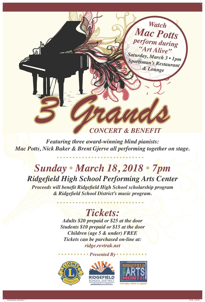 3 Grands to Perform in Ridgefield, Sunday March 18
