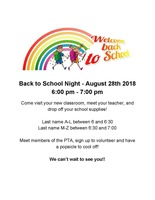 Back to School Night Set for August 28