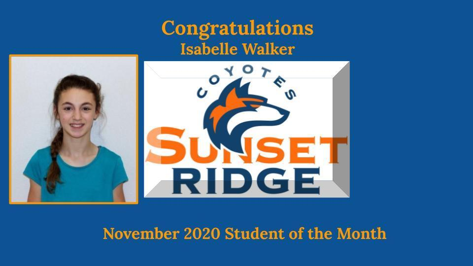 November Student of the Month - Isabelle Walker