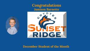 December Student of the Month -  Jamison Barnette