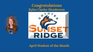 April Student of the Month - Kylee Clarke-Henderson