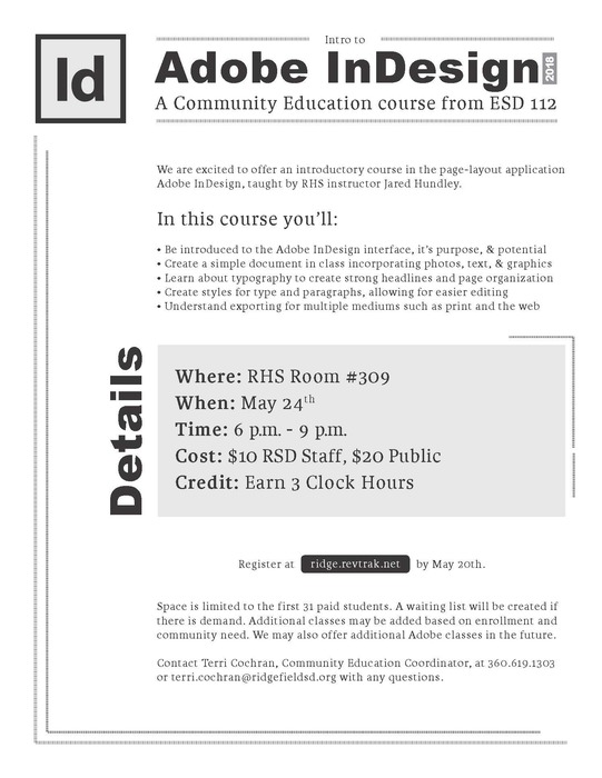 Adobe InDesign class flyer