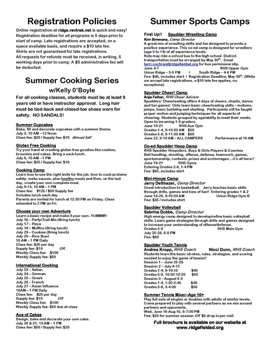 Summer 2018 Sports and Cooking Flyer