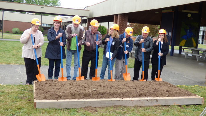 RHS Retirees prepare to break ground. RHS Expansion May 2018