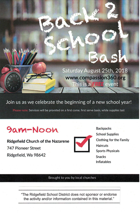 Back to School Bash Flyer for 8/25/18