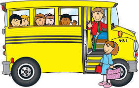 Students on school bus graphic