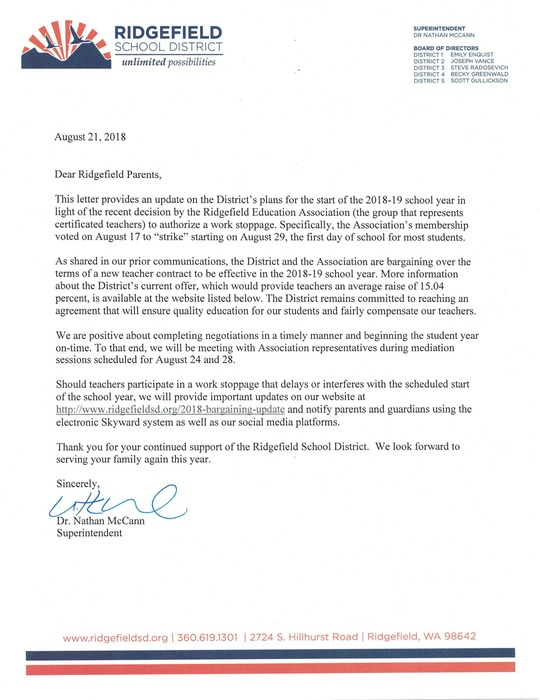 Letter to Parents from Supt 8.21.18