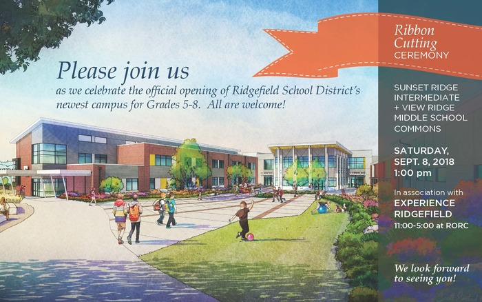 Ribbon-cutting invitation to Grade 5-8 Campus.