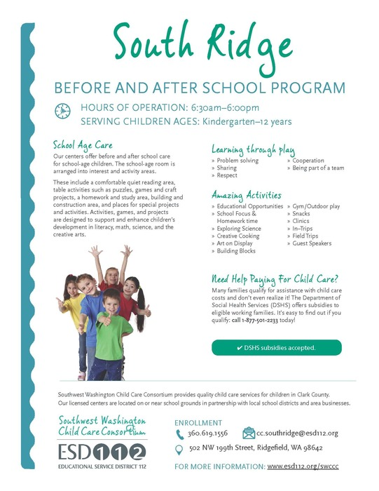 South Ridge Before & After School Program flyer