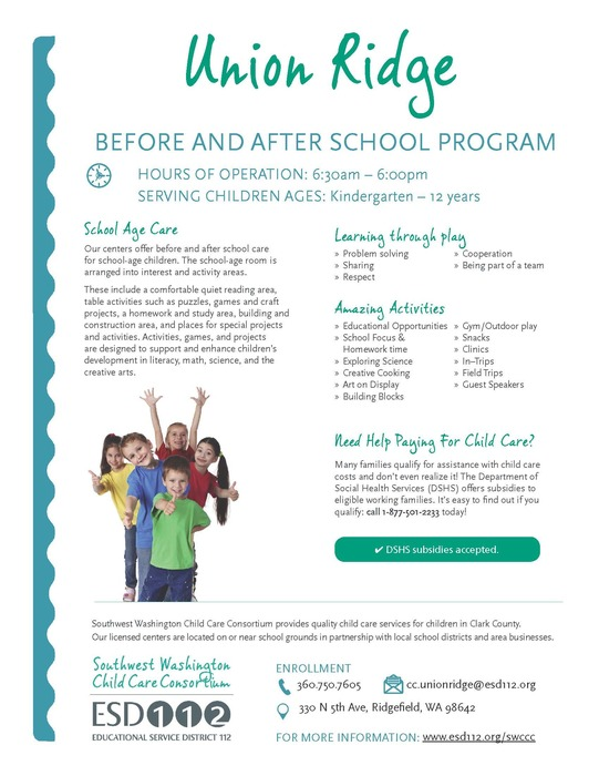 Union Ridge Before & After School program flyer