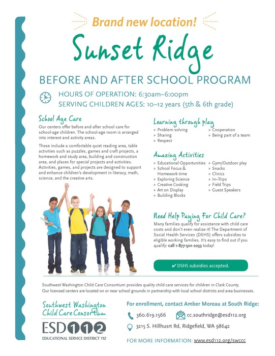 Sunset Ridge Before & After School program flyer