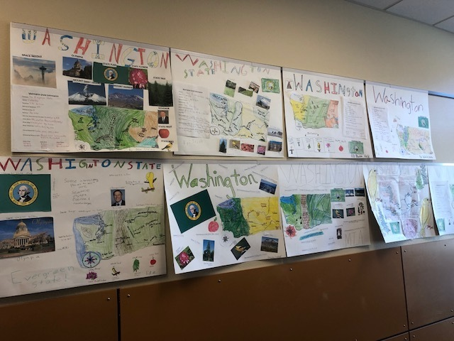 Washington State History posters by Mrs. Moses' 4th graders