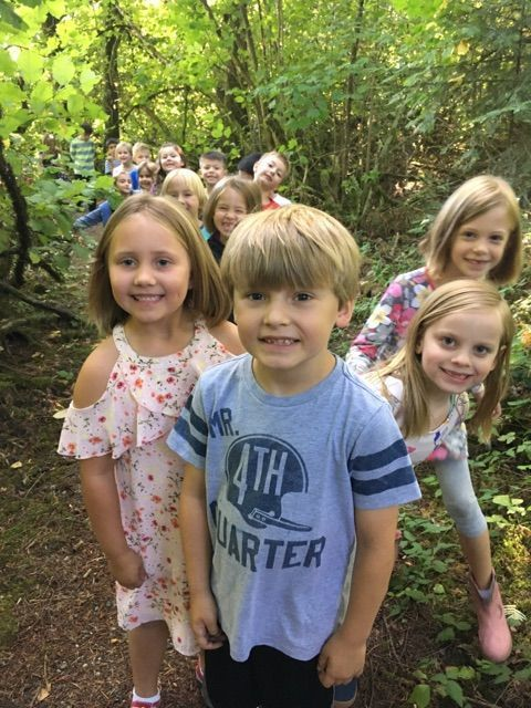 South Ridge Elementary students on the school's outdoor trail