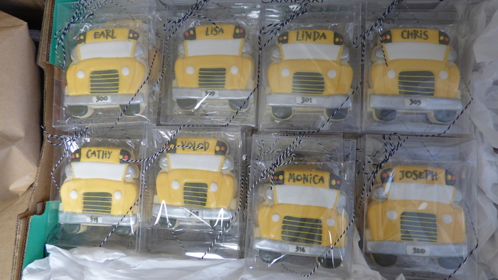 Cookies for the school bus drivers during National School Bus Safety Week