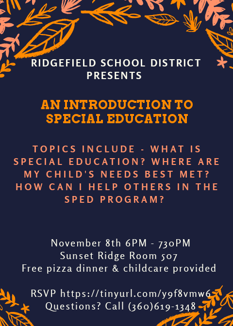 Special Ed Parent Night Flyer 11/8/18
