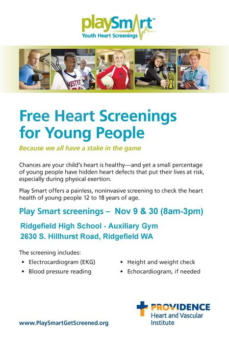 Play Smart Heart Screenings poster 2018