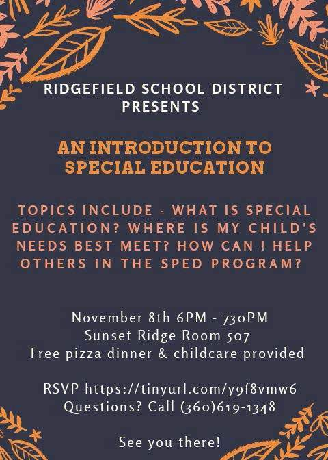 Flyer for Special Education parent night on Nov 8 2018.