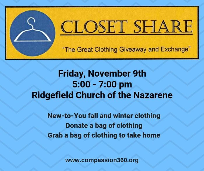 Closet Share flyer for Nov 9 2018