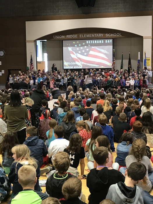 A packed Veterans Day Assembly
