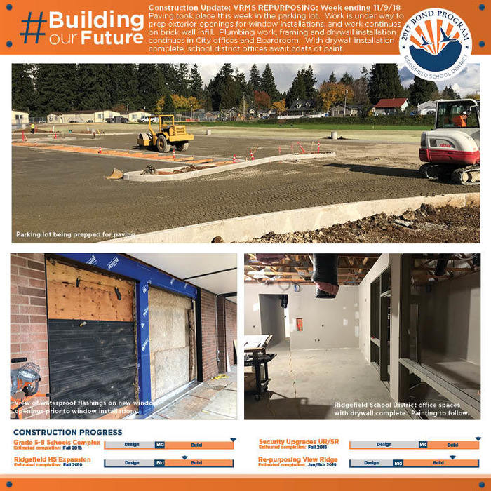 Weekly construction update 11/9/18 VRMS Repurposing