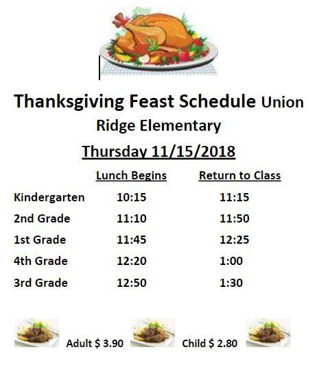 Thanksgiving Feast Schedule