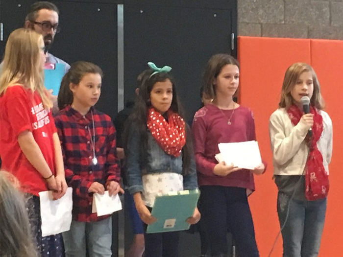 Sunset Ridge Intermediate students recite a poem at Veterans Day Assembly 2018.
