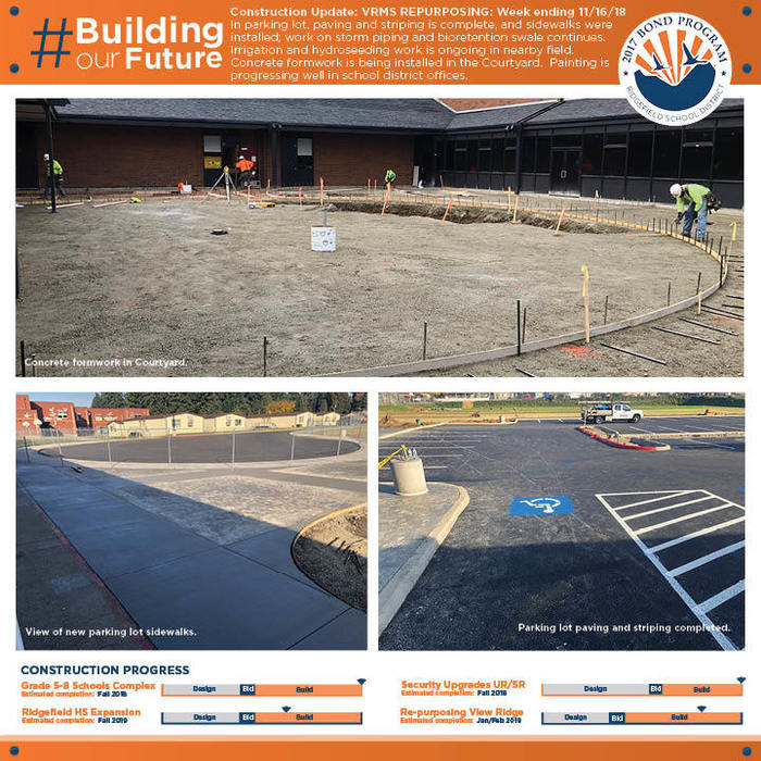 Weekly construction update 11/16/18 for VRMS Repurposing