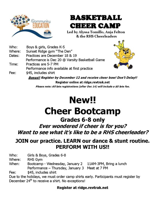 Ridgefield Community Ed - Cheer Camps Dec 2018-Jan 2019