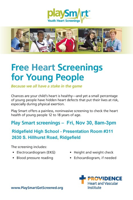PHI Free Youth Heart Screening flyer for 11/30