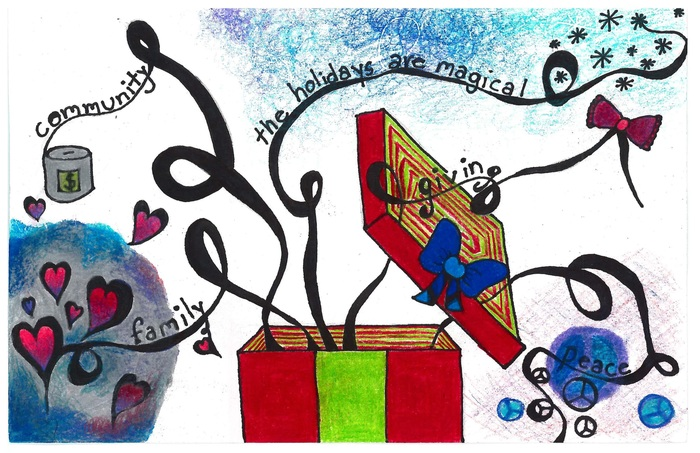 Winning design in 2018 Superintendent's Holiday Greeting Card Art Contest