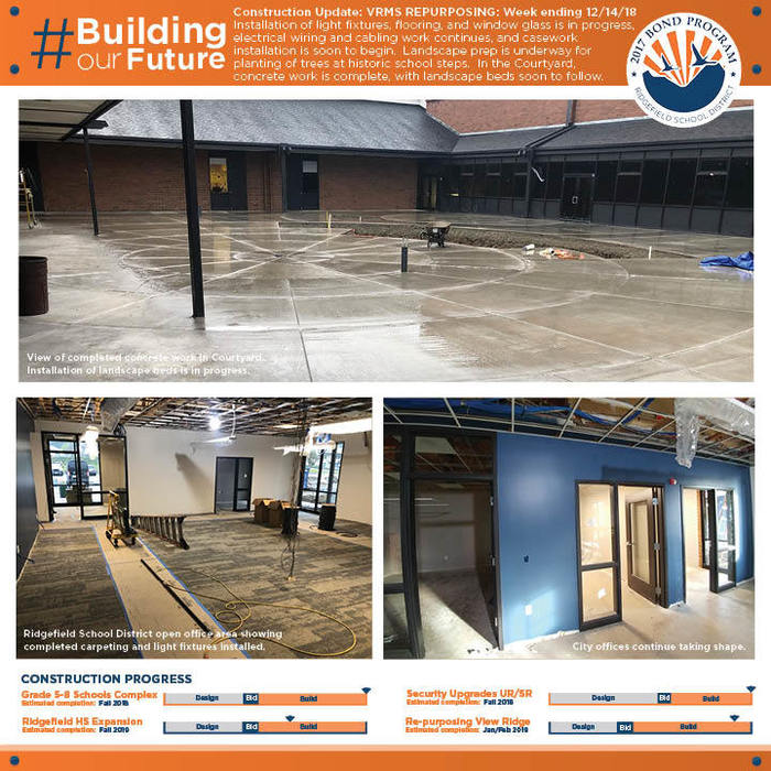 Weekly construction update 12/14/18 for VRMS Repurposing Project