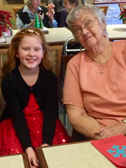 South Ridge fourth graders visit residents at Highgate Senior Living Center.