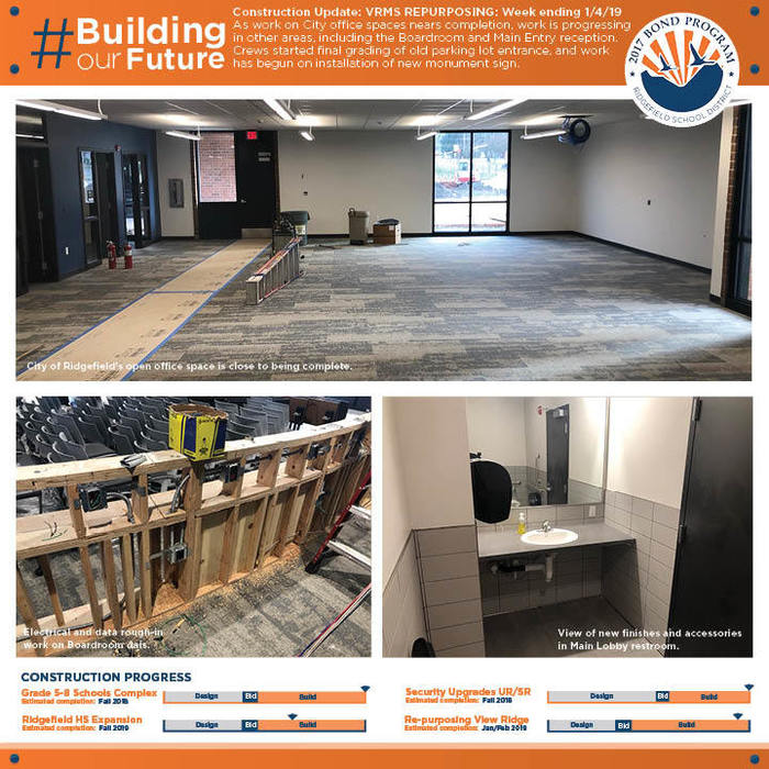 Weekly construction update 1/4/19 for VRMS Repurposing project