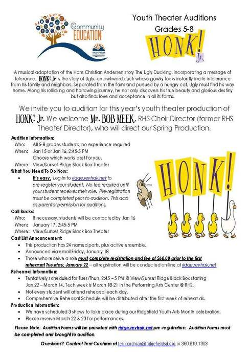 Youth Theater Auditions for Honk Jr.