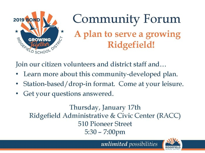 Flyer for 2019 Bond Program Community Forum 1.17.19