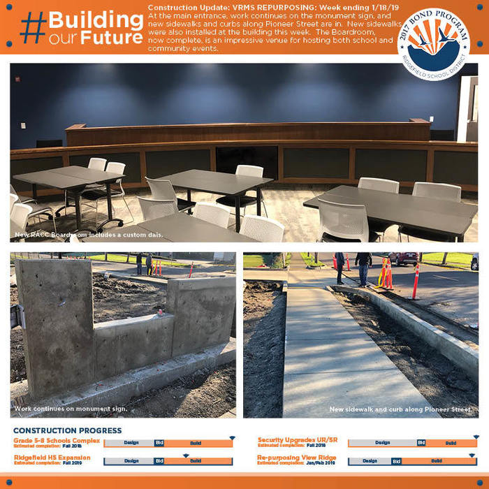 Weekly construction update for week ending 1/18/19 for VRMS Repurposing project.