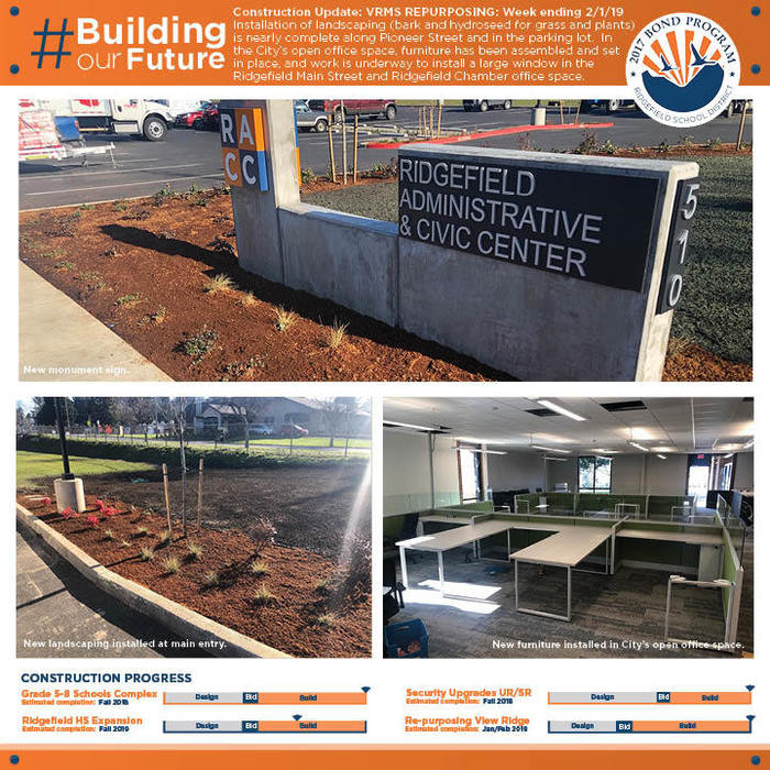 Weekly construction update 2/1/19 for VRMS Repurposing