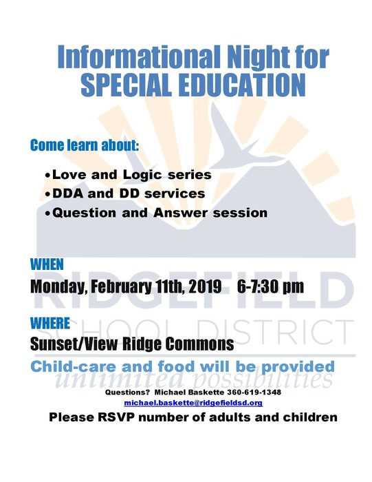 Special Education Informational Night flyer Feb 2019