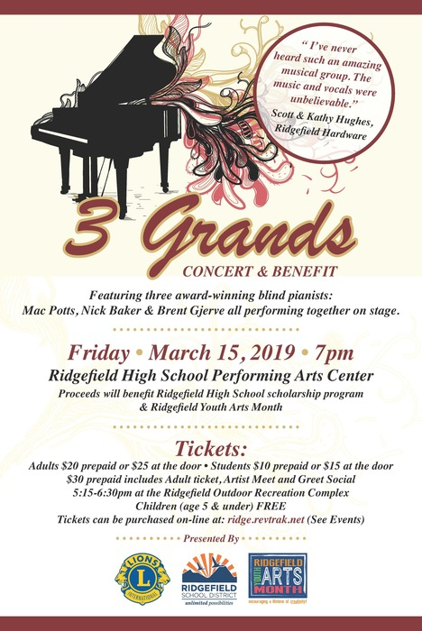 3 Grands Concert & Benefit flyer