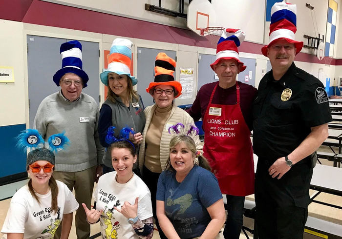 Volunteers from Ridgefield City Council, Ridgefield Police Department and Beaches Restaurant staff helped serve Green Eggs and Ham breakfasts.