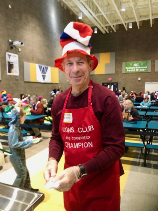 Mayor Don Stose volunteered to serve Green Eggs & Ham breakfasts at Ridgefield elementary schools.
