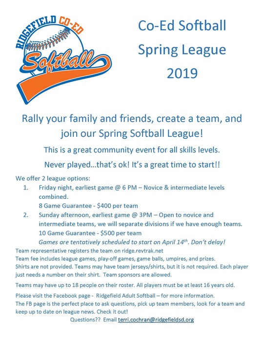 Ridgefield Co-Ed Softball Spring League 2019 flyer