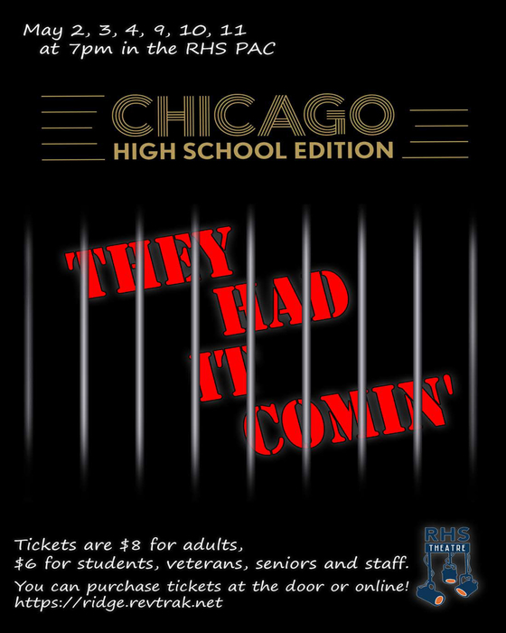 "Flyer for RHS Theater production of ""Chicago"""