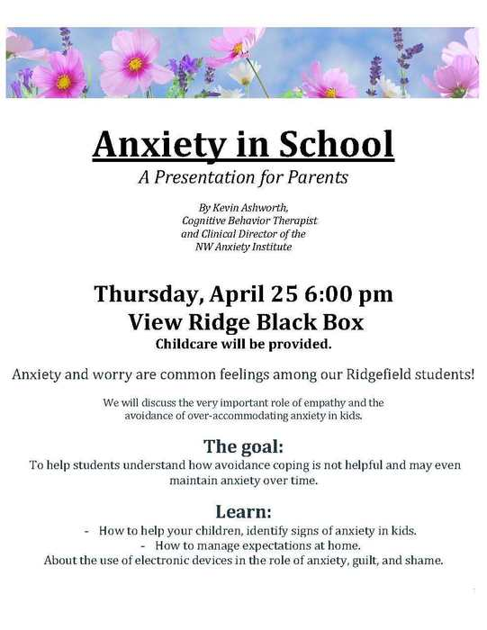 Anxiety in School flyer