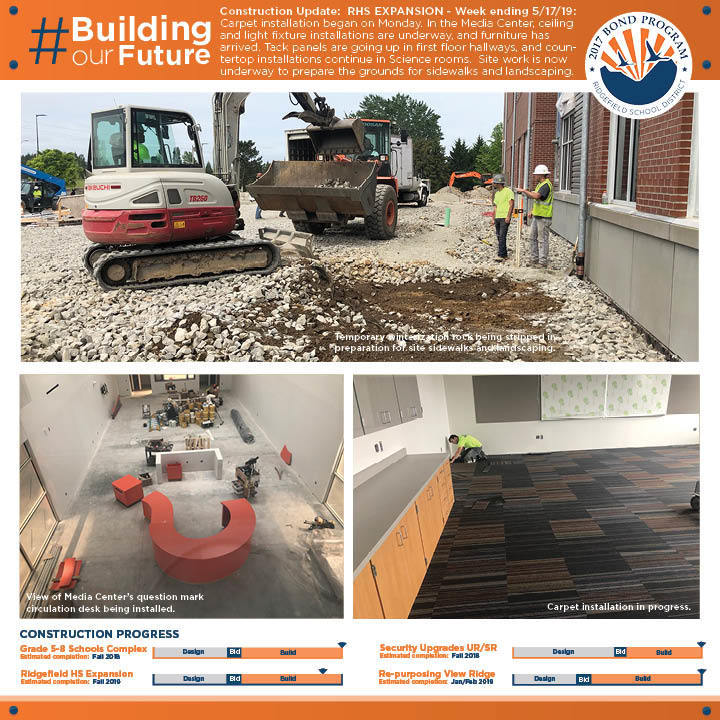 Weekly construction update for week ending 5/17/19 for RHS Expansion project.