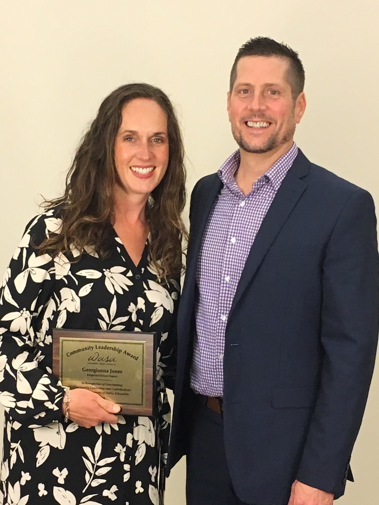 Georgianna Jones, recipient of 2019 WASA Community Service Award with Superintendent Nathan McCann