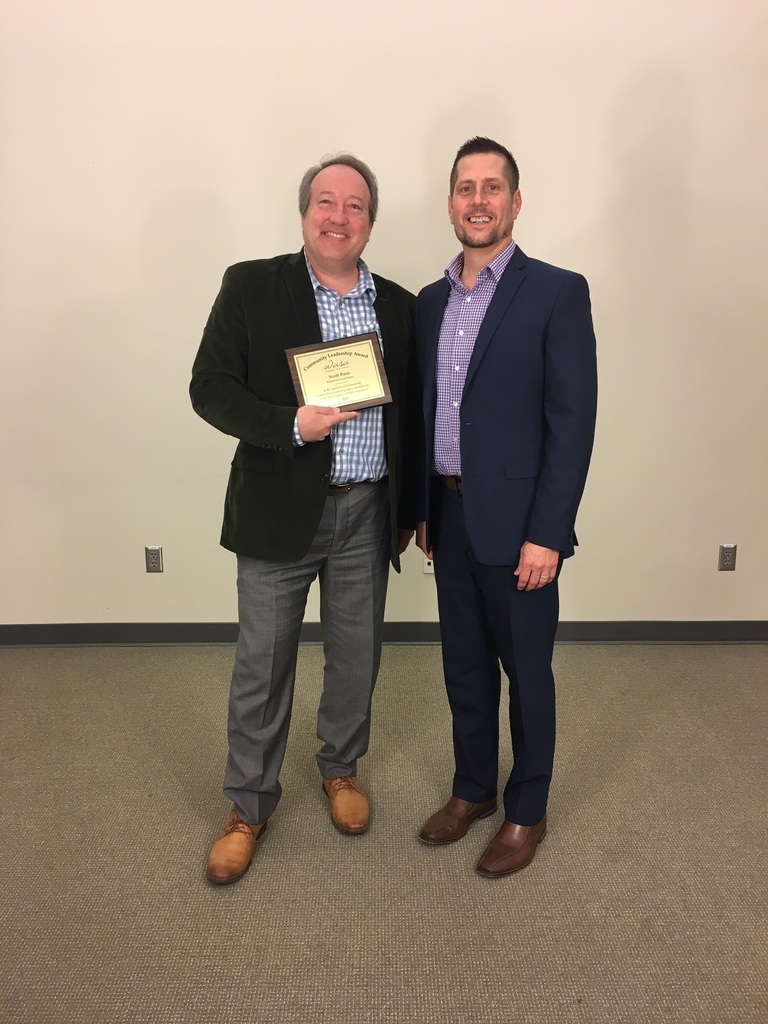 Scott Rose, 2019 recipient of WASA Community Service Award, with Superintendent Nathan McCann