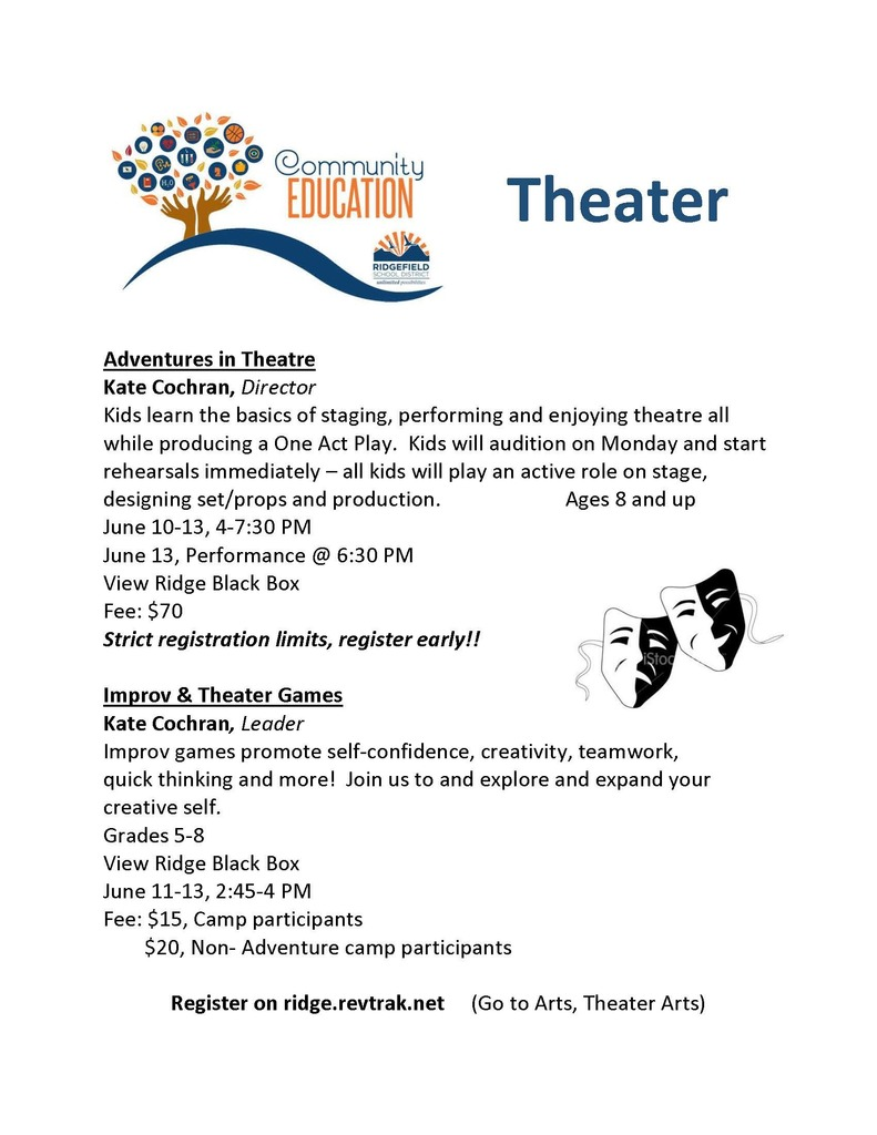 Ridgefield Community Education Theater Classes - Summer 2019