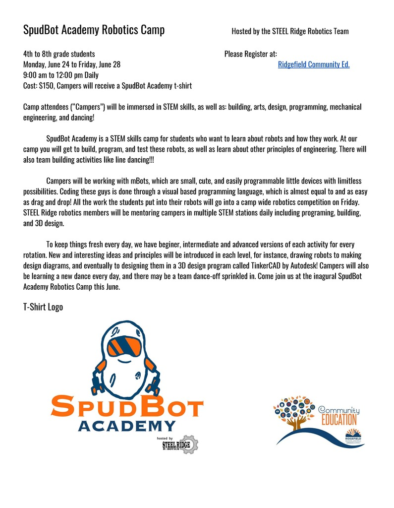Flyer for SpudBot Academy Robotics Camp