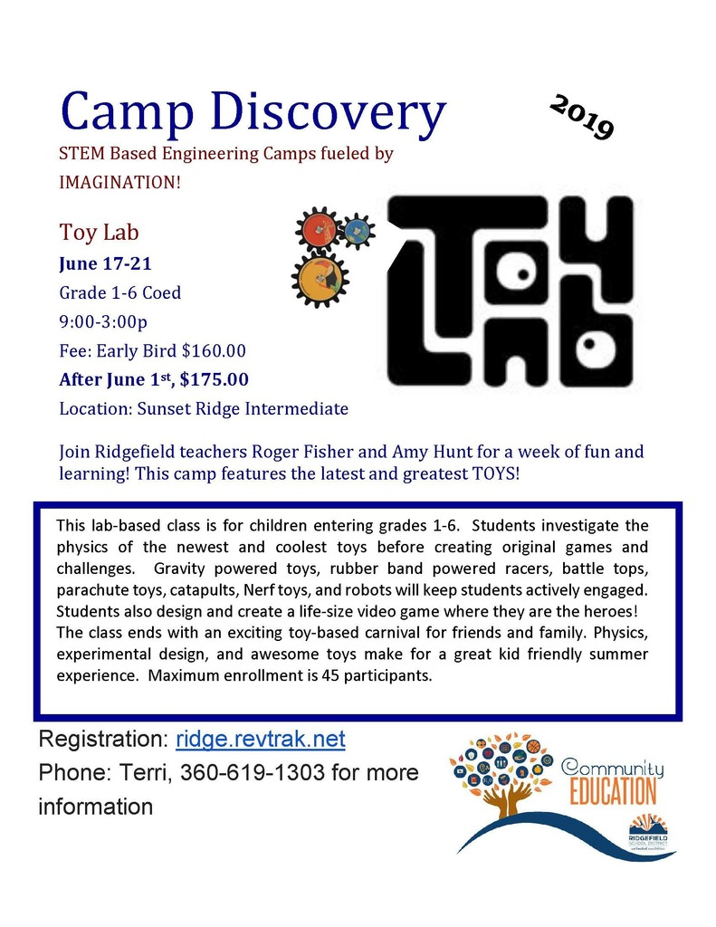Camp Discovery Toy Lab flyer